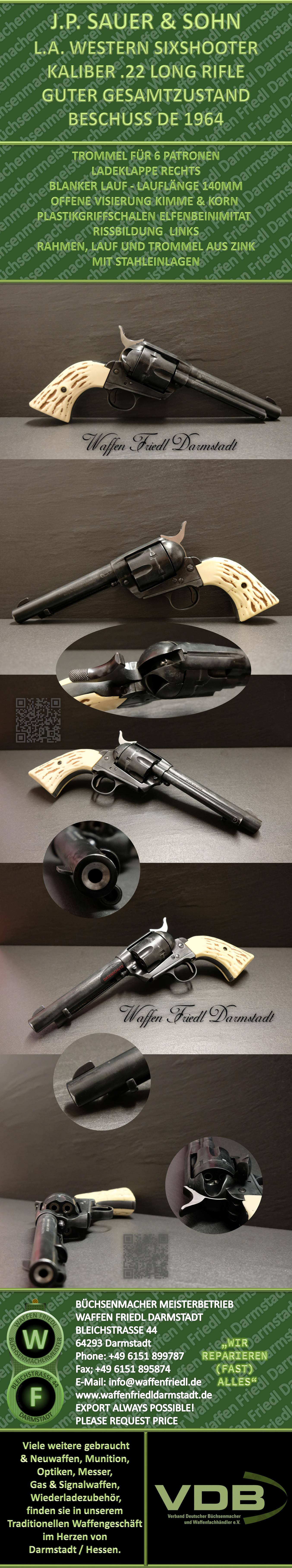J.P. SAUER & SOHN - KALIBER .22 Long Rifle - MODELL L.A. SIXSHOOTER