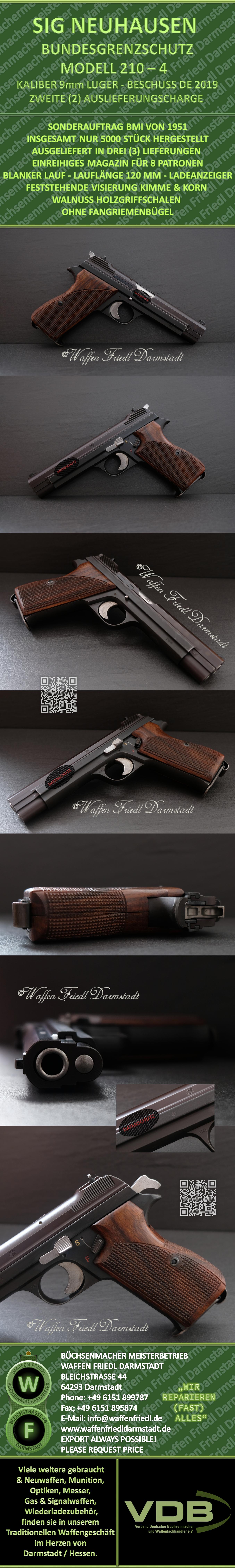 SIG 210-4 BUNDESGRENZSCHUTZ - KALIBER 9mm LUGER - NEUWERTIGER GESAMTZUSTAND