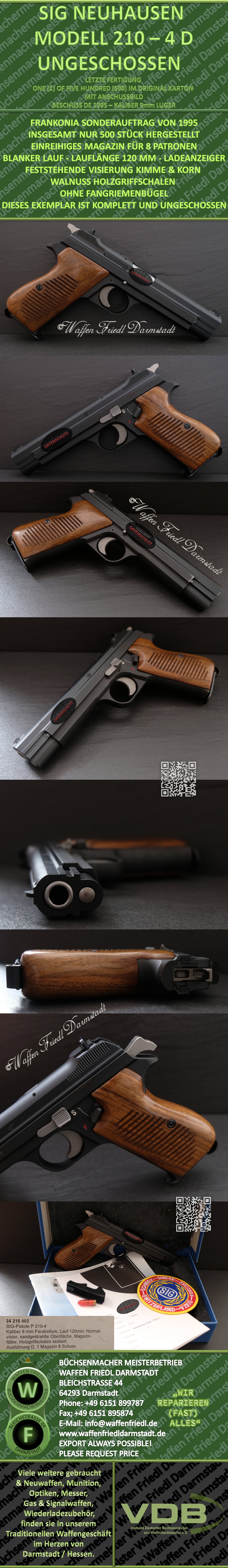 SIG 210-4 SONDERSERIE D - KALIBER 9mm LUGER - UNGESCHOSSENER GESAMTZUSTAND - LETZTE FERTIGUNG SIG NEUHAUSEN