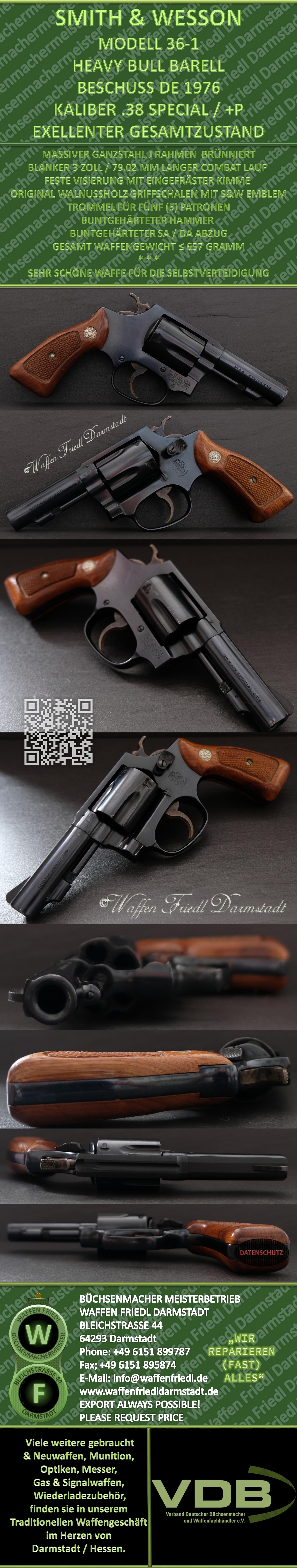 """Smith&Wesson (1976) MODELL 36-1  /  3"""" Lauf - Kaliber .38 Special +P - Brünniert - Exelenter Gsamtzustand"""
