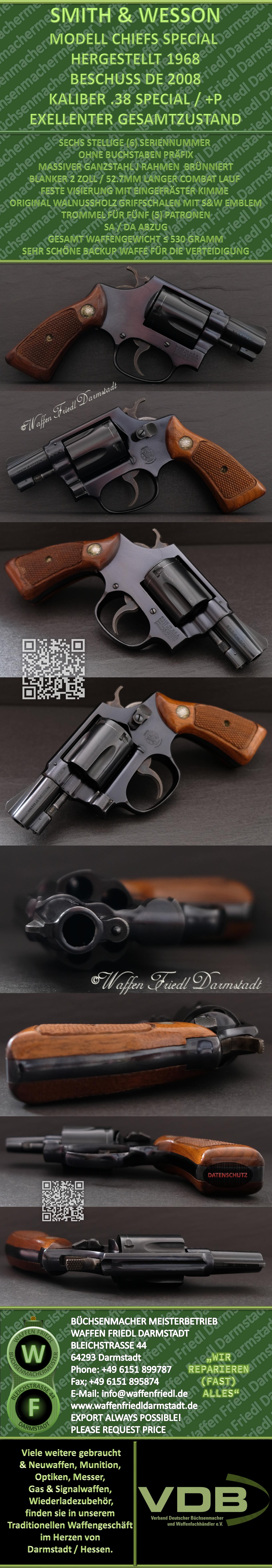 """Smith&Wesson (1968) Chiefs Special 2"""" Lauf - Kaliber .38 Special - Brünniert - Exelenter Gsamtzustand"""