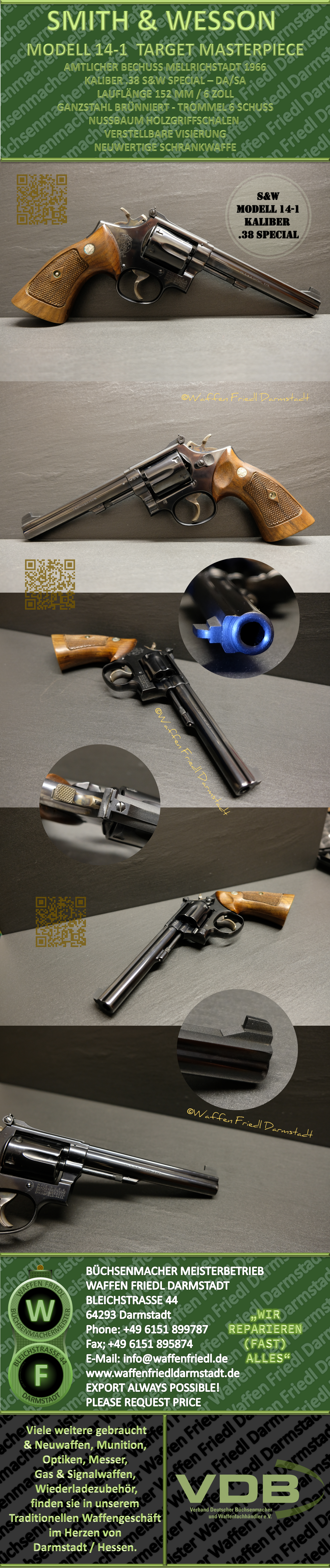 SMITH & WESSON TARGET MASTERPIECE - 6 ZOLL LAUF - KALIBER .38 SPECIAL